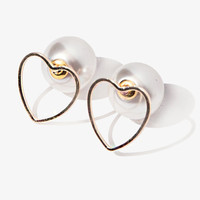 Heart and Pearl Double Ended Earrings