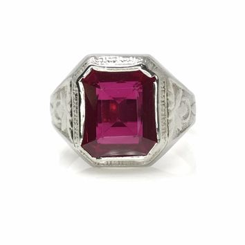 Men's White Gold Ruby Signet Ring