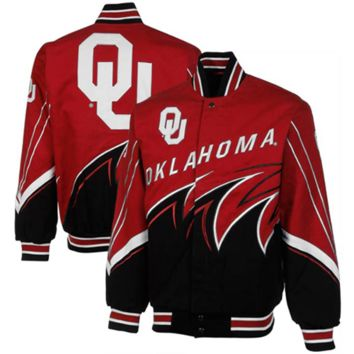Oklahoma Sooners Slash Twill Full Button Jacket - Crimson/Black