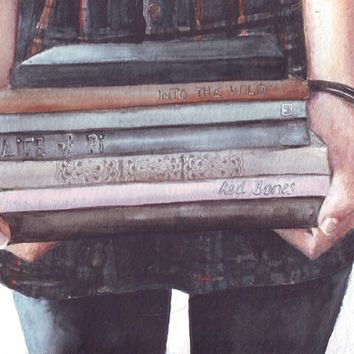 HM064 Original watercolor Girl with Books art by Helga McLeod