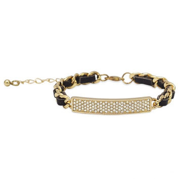 Thin Brown Leather Fashion Bracelet with Gold Tone Chain