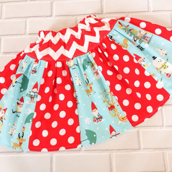 Toddler girls Christmas skirt 3T ready to ship red green blue Boutique Clothing By Lucky Lizzy's