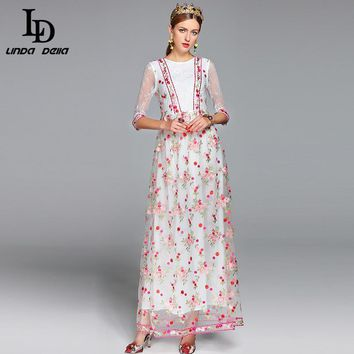 2017 Maxi Dresses Long Ankle Length A-Line Women's Elegant Party Half Sleeve Tulle Gauze Floral Embroidered Long Dress