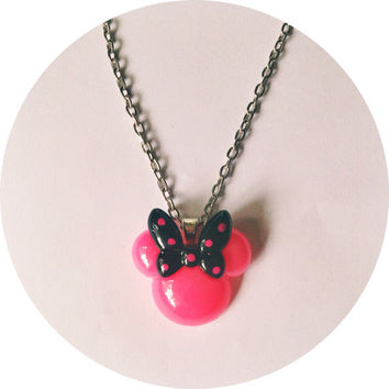 Pink Minnie Mouse with Black Bow Handmade Necklace Polka Dots Disney Jewelry