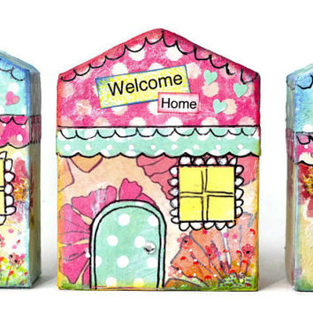 CLEARANCE Pink lemonade whimsical wooden houses ornaments or shelf sitter. 3 Spring whimsy town . mini decoupaged houses