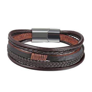 XiongHang Men Jewelry Punk Black Braided Genuine Leather Bracelet Stainless Steel Magnetic Buckle Fashion Bangles Vintage Gifts