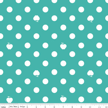1 yard Turquoise, White, Polka Dot and Apple Cotton Fabric, Riley Blake Designs Apple of my Eye by Quilted Fish