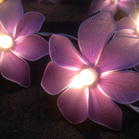 20 purple Tone Orchid Flowers Fairy String Lights  Wedding Party Floral Home Decoration