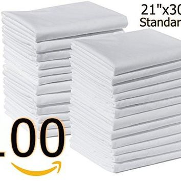 "Bulk Pack of 100 Polycotton Standard Size Pillowcase White T-200,42""x36"" (Fits 21"" X30"" pillow) Perfect for Physical Therapy Clinics, Hotels, Camps (100, Standard)"