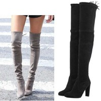 Women Stretch Faux Suede Thigh High Boots Sexy Fashion Over the Knee Boots High Heels Woman Shoes Black Gray