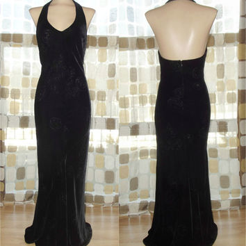 Vintage 90s Retro 30s Burnout Roses Silk Velvet Bias Harlow Gown 8 S/M Sexy Halter Dress Flapper Gatsby Illusion
