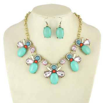 turquoise necklace with earrings J Crew Inspired by jewelry4fab