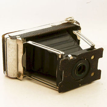 Vintage Camera Ansco Actus Folding Camera with Lens and Leather Case