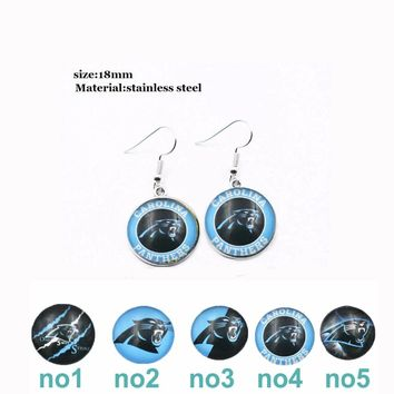 10 Pairs Stainless Steel Glass Carolina Panthers Earring 5 Styles Drop Earrings Prevent Allergy Earring