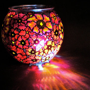 Hand Painted Glass Round Globe Vase Bowl (Wildflower Collection Reds/Orange/Yellow)