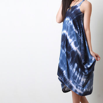 Tie Dye Trapeziod Hem Midi Dress