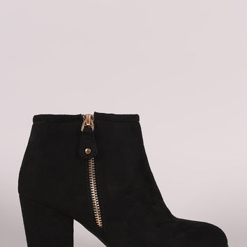 Liliana Suede Zipper Trim Chunky Heeled Ankle Boots