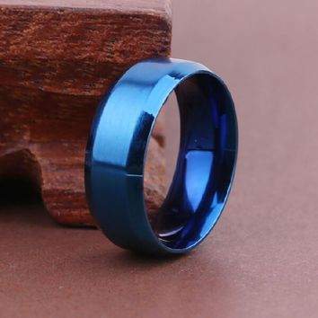 8mm Blue Stainless Steel Ring