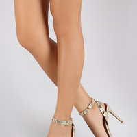 Dollhouse Pyramid Straps Cushioned Metallic Open Toe Heel