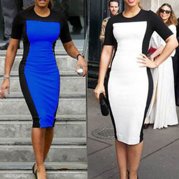 Color Block Short Sleeves Midi Pencil Dress
