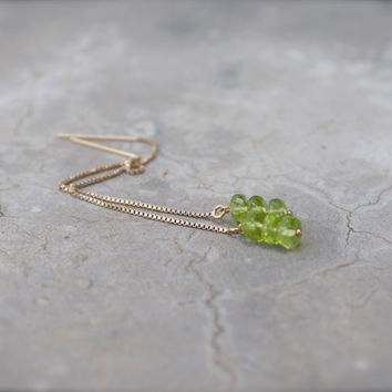Thread chain earring green peridot gemstone rondelle 14k gold fill Tiny delicate Modern minimal simple Contemporary Bright Lime Chartreuse