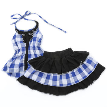 Little Girl's Blue and Black Gingham Top and Skirt Set