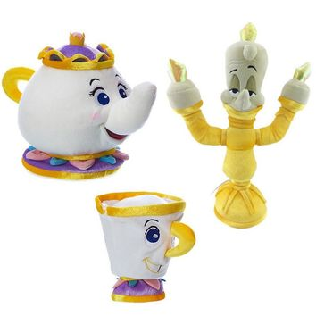 Movie Beauty and Beast Mrs.Potts Plush Toy Teapot and Tea Cup Doll