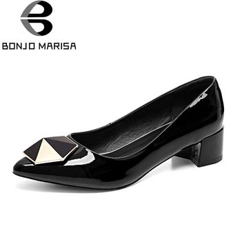 BONJOMARISA New women's Genuine Leather Med Square Heels Pointed Toe Solid Shoes Woman Casual Pumps Big Size 32-44