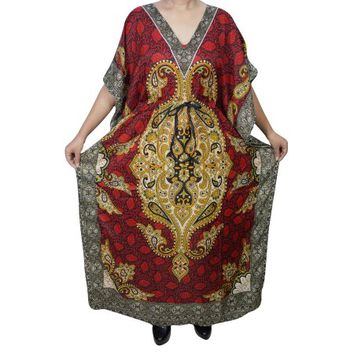Mogul Womens Maxi Caftan Dress Floral Print Red Kimono Sleeve Nightwear House Dress XXXL - Walmart.com