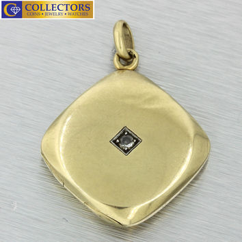 1880s Antique Victorian 14k Solid Yellow Gold Old Mine Diamond Locket Pendant
