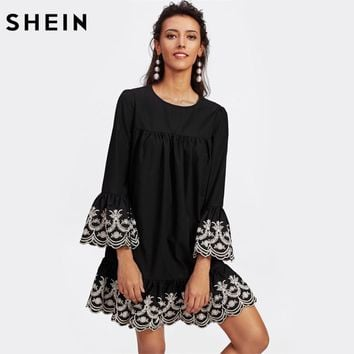 SHEIN Vine Embroidered Ruffle Cuff and Hem Scalloped Shift Dress Black Long Sleeve Cut Out Button Back Drop Waist Dress