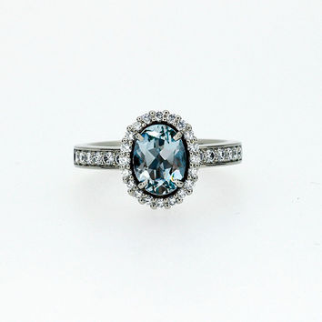 Oval cut Aquamarine halo engagement ring with diamonds, aquamarine engagement ring, vintage style, unique, custom, light blue, white gold