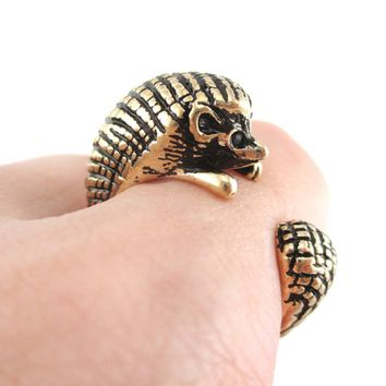 Hedgehog Porcupine Shaped Animal Wrap Ring in Shiny Gold | US Sizes 4 to 9
