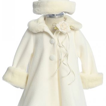 Ivory Fleece & Fur Trimmed Girls Dress Coat w. Hat 3m-24m