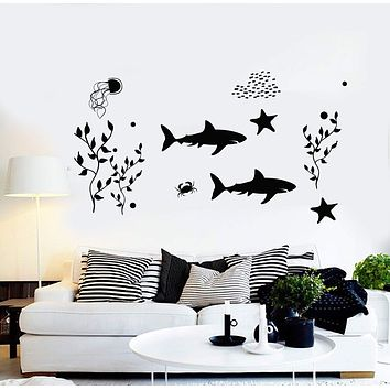 Vinyl Wall Decal Marine Animals Shark Starfish Ocean Stickers Unique Gift (ig4448)