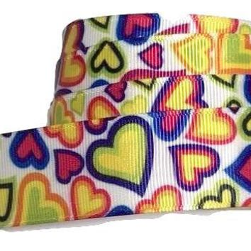 "Rainbow heart print 1"" grosgrain ribbon"