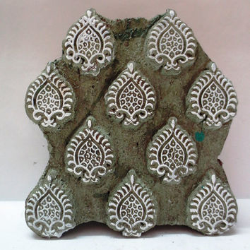 Indian wooden hand carved textile printing fabric block / stamp art printing pattern