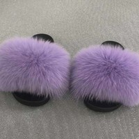 Come home fox fur slides