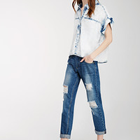 Distressed Whisker Wash Jeans