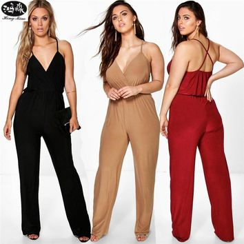 Women Jumpsuit Summer Sling Backless V-neck Solid Color Sexy Women Jumpsuits Female Plus Sizes 5XL Overalls
