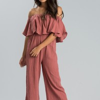 Makenna Rust Off the Shoulder Jumpsuit
