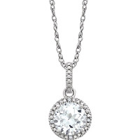 "Sterling Silver Created White Sapphire & .01 CTW Diamond 18"" Necklace"