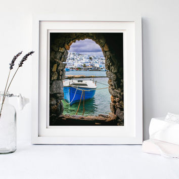 Greece print, travel photography, fishing boat, Greek architecture, cave opening, tunnel, sea, water, fine art print, home decor, wall art