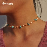 Blue stone beads choker necklace gold color choker for women