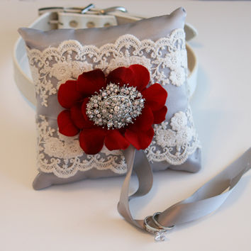 Red & Gray Dog ring bearer, Victorian Ring Pillow attach to Collar, Pet wedding