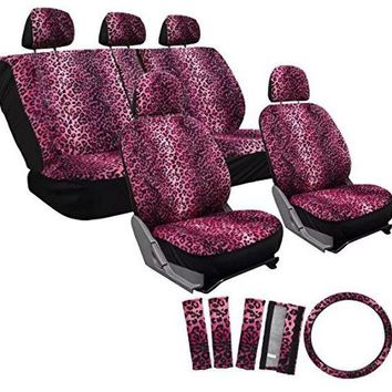 17pc set leopard animal print auto seat covers set - front low back buckets - rear split bench - pink Case of 10