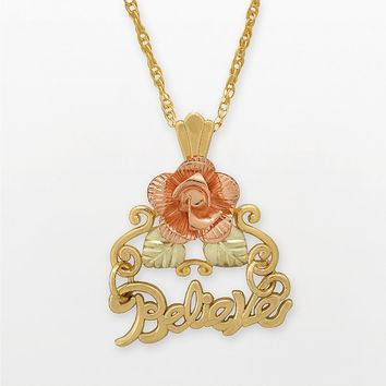 Black Hills Gold Tri-Tone Dakota Rose ''Believe'' Pendant (Yellow)