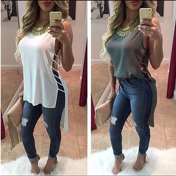 Women Summer Vest Sleeveless Blouse Cocktail Casual Chiffon Tank Tops T-Shirt = 6092217795