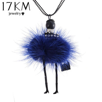 17KM Doll Necklace Long Chain Pendant Rhinestone Necklace Women Girl Crystal Bag Statement Accessories 2016