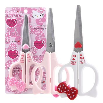 5sets/lot Portable Cartoon Pink Hello Kitty Cute scissors mini knife KT cat stainless steel